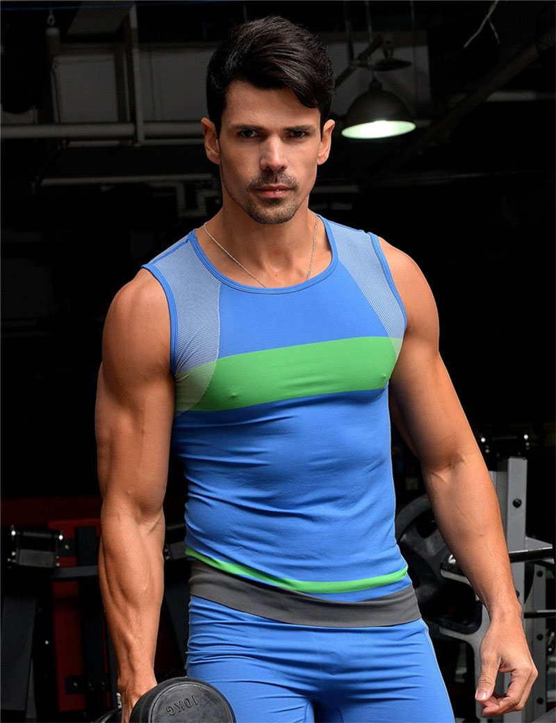 Men's Wet-absorb&Fast-dry and Breathable Body-shaping type elastic sleeveless tights for sports and fitness(China (Mainland))