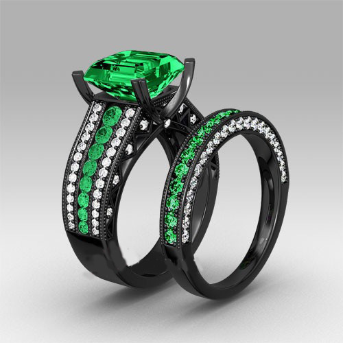 Green Cubic Zirconia Black Plated Women s Black Gold Wedding Ring Set Eng
