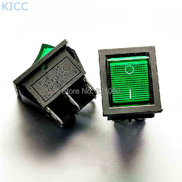 Large KCD2 KCD4-202 Green LIGHT 6-Pin 2-Files 16A/250V Rocker Switch Seesaw Power Switch (10Pcs/Lot)<br><br>Aliexpress