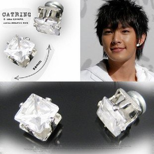 free shipping hot fashion jewelry 8mm square magnetic zircon earring