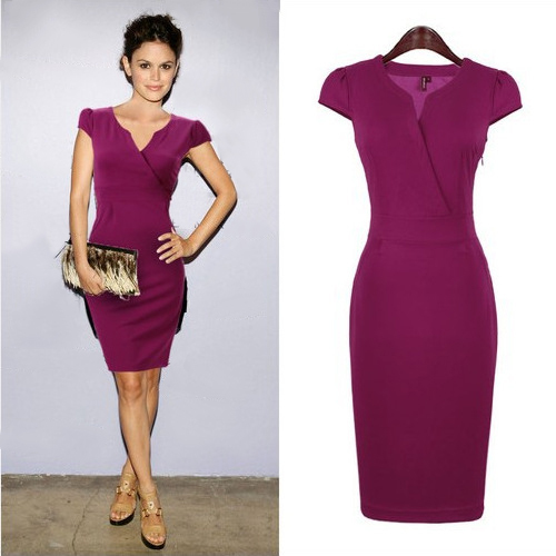 Elegant Women Summer Formal Bodycon Pencil Dress Office Ladies Short Casual Dresses Fashion