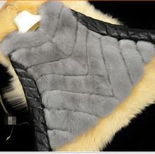 Cute Casual Elegant Gorgeous Slim Fur Waistcoat PU Leather Sleeve Women Winter Luxury Noble Plus Size Fox Fur Jacket Coat V643(China (Mainland))