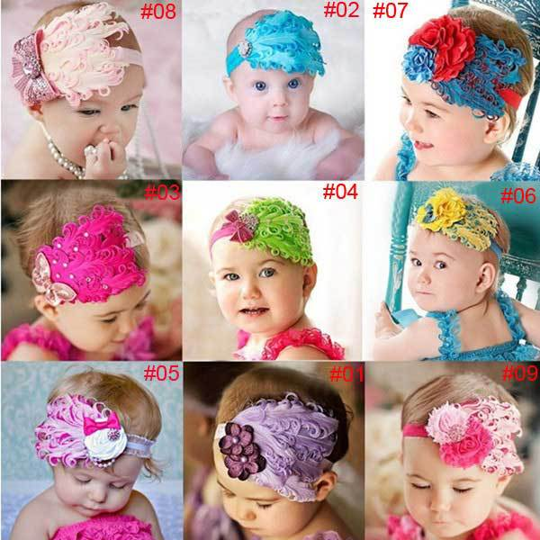 LidaBack Baby Bow Peacock Feather Flower Headbands Wear Accessory(China (Mainland))