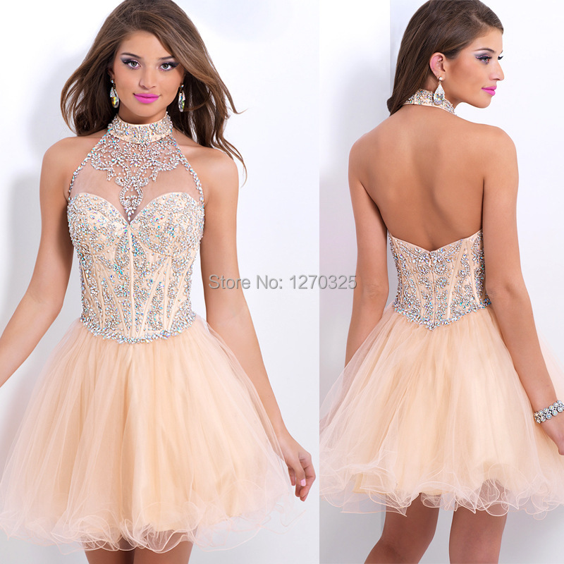 2015 new stylish upscale elegant and beautiful high-neck beaded crystal short paragraph Pink prom dress cocktail dress tutu(China (Mainland))