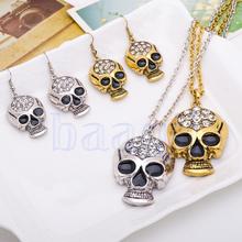 Retro Fun New Skull Crystal Rhinestone Necklace Earrings Allergy Free Jewellry(China (Mainland))