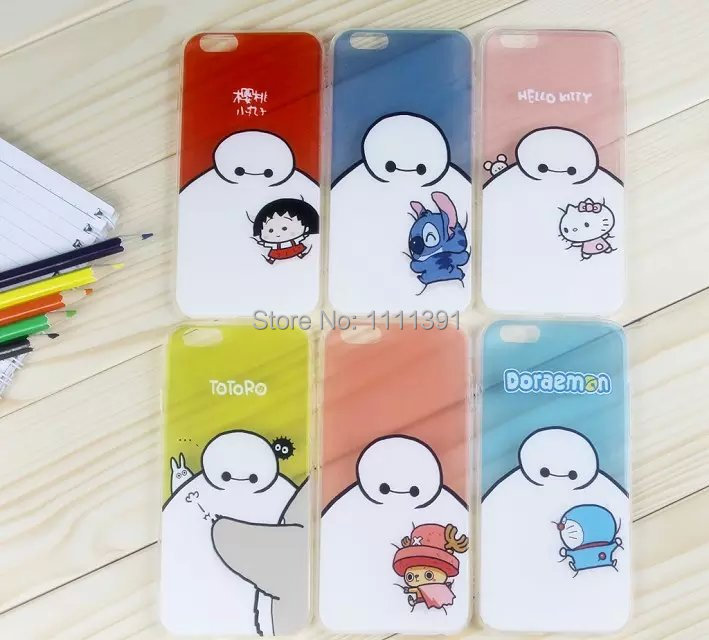 Hello Kitty Minions Big Hero Baymax Case For iphone 6 4.7 5.5 Cartoon Soft TPU Clear Silicone Cover DHL free shipping(China (Mainland))