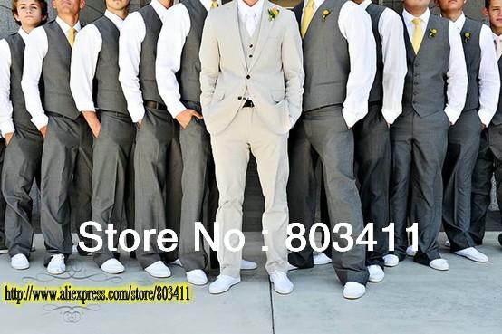 Free Shipping High Quality Men's Brand Wedding Suit Formal Suit Tuxedo (Jacket+ pants+Vest ) Groom Dress