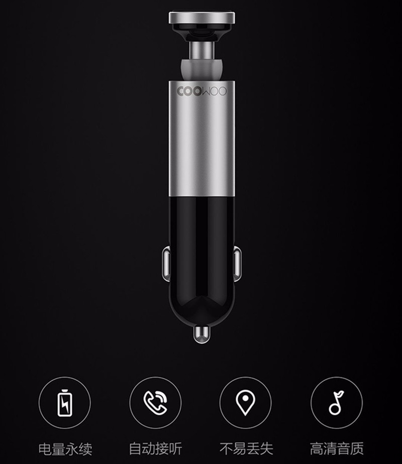 Xiaomi and CooWoo Aluminium Alloy Bluetooth Handfree Call Headset and Car Charger 2 In 1 Best Innovation Earphone For Car Drive