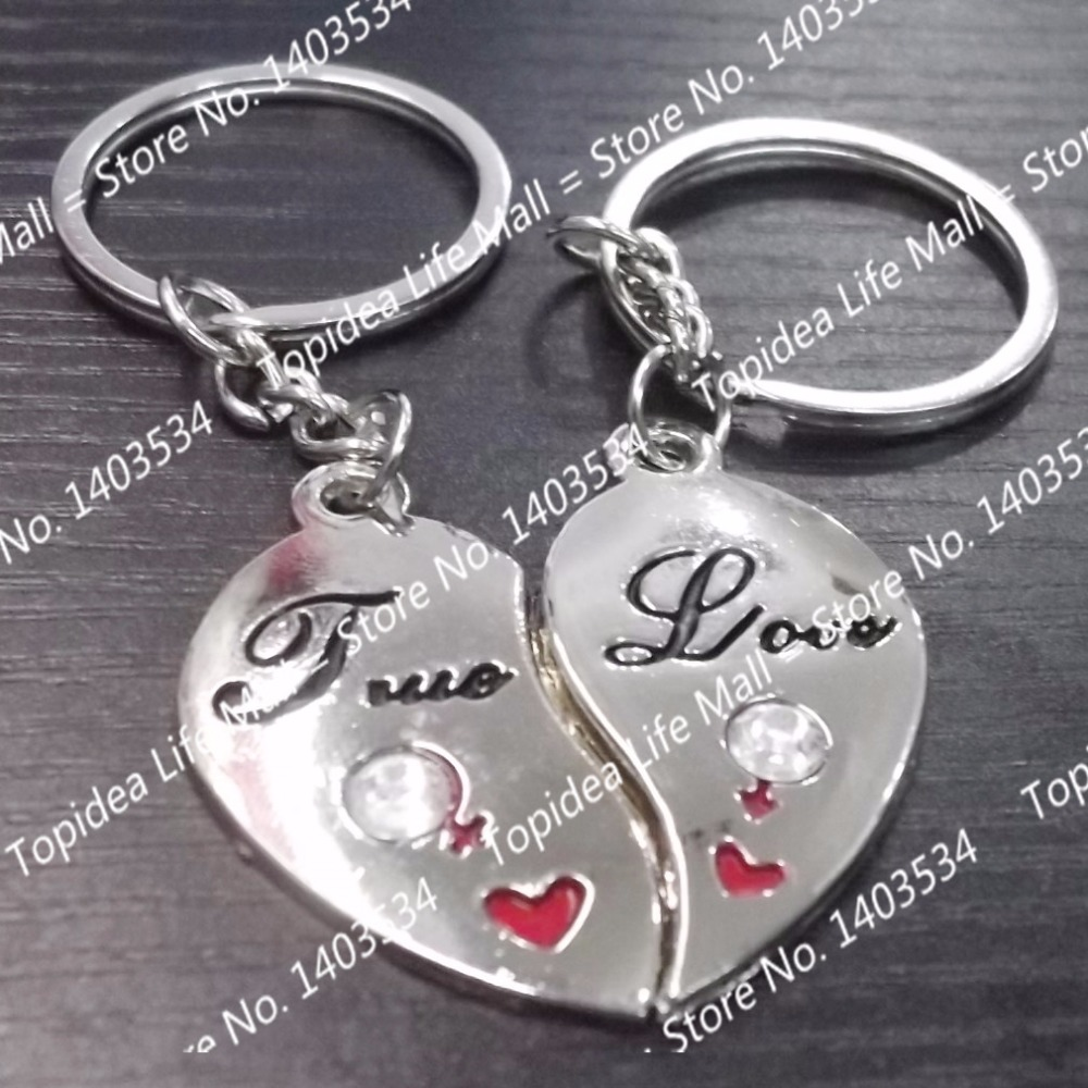 1 Pair  I LOVE YOU Couple key buckle Heart Keychain Ring Romantic Creative Birthday Gift <br><br>Aliexpress