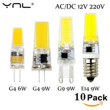 Buy 10PCS/Lot Lampada LED G4 Lamp 3W 6W 9W AC/DC 12V 220V COB E14 LED Bulb G9 Lighting Lights replace Halogen Spotlight Chandelier for $3.54 in AliExpress store