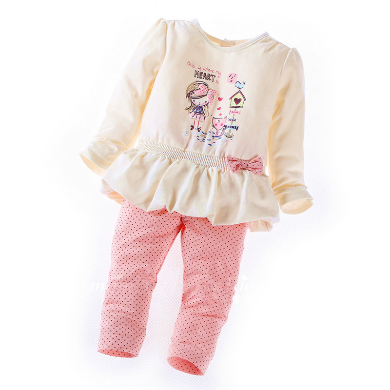 2015 New Style Full Girl Set Children Sets Baby Set Tops