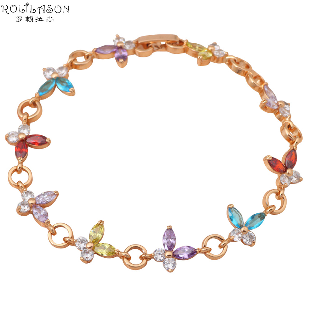 Color girls AAA Zircon & color Crystal 18K k Gold Plated Bracelets Style Health Nickel Lead free Fashion jewelry TB677 - TaoLiHao Ltd. store