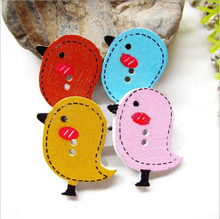 Buy Wooden cartoon bird painting button Mu Kouzi garment accessories baby clothes buttons scrapbooking sewing accessories craft for $1.39 in AliExpress store