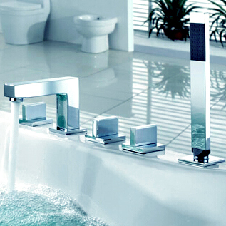Brass Bathroom Shower Faucet Handles Hot & Cold Bath Tub Mixer Water Tap Shower Hotels Deck Mounted torneira banheiro ducha(China (Mainland))