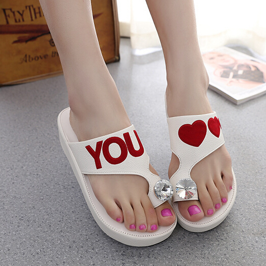 Good quality new 2015 women wedges pumps flip flops sandals high heels shoes slides rhinestone loves couples summer - Don't even think about it store