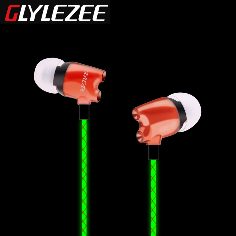 Glylezee G5 Luminous Rockets Head Music Headset In-Ear Stereo Cellphone Earphone with Electroplating Head Retail Package