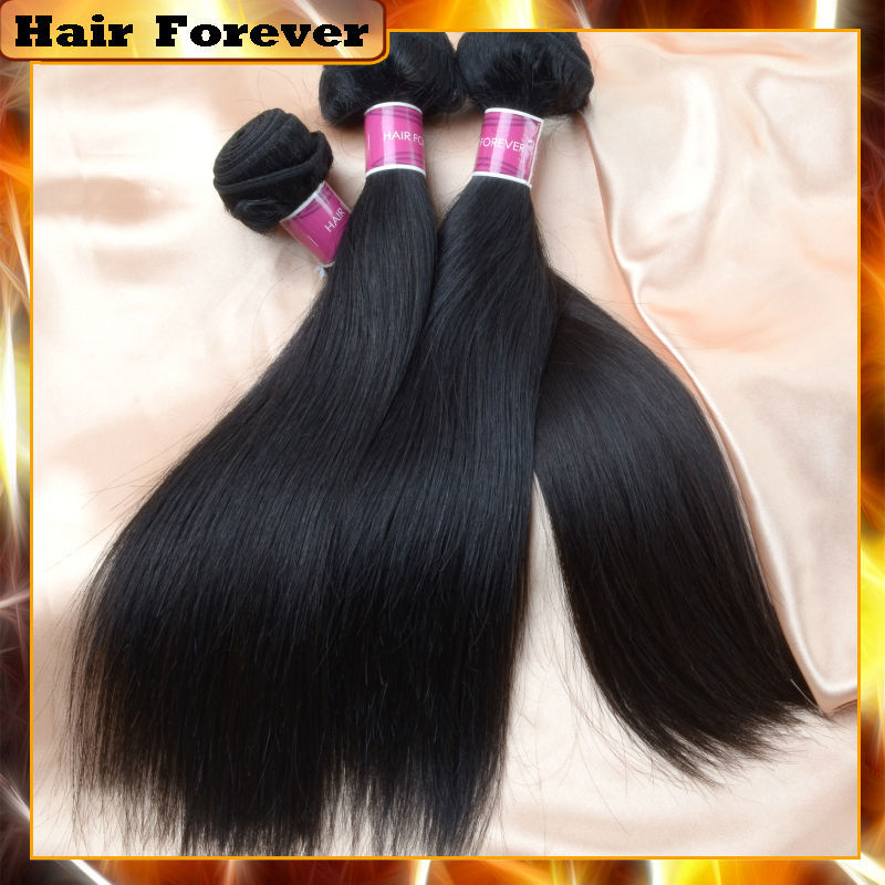 Hair forever good market narural human hair 3pcs brazilian virgin hair straight Free shipping 100 virgin brazilian hair bundles(China (Mainland))