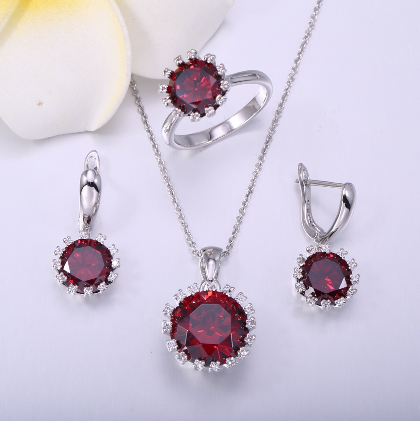 Garnet Women Jewelry Sets Prong Setting CZ Cubic Zirconia Diamonds Halo Earrings / Pendant / Ring Set(China (Mainland))