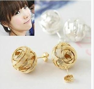 freeshipping,2012 new  ,Lovely weaving spherical stud earrings,20 pair/lot,the fashion  Earrings