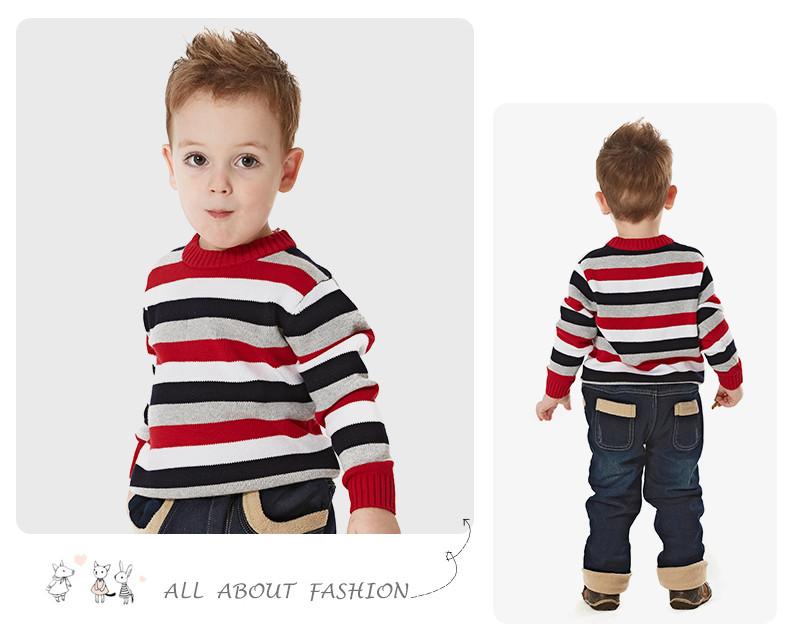 Скидки на Мальчик смешанный цвет полосатый пуловер причинно дети трикотажные о-образным вырезом свитер дети трикотаж зима марка baby дети свитер