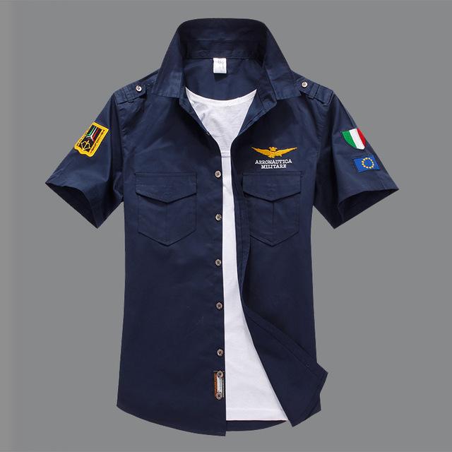 2016 мужчин aeronautica militare с коротким рукавом camisas masculina рубашка мужчины ...