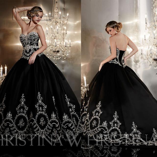 Черный готические свадебные платья бальное платье вышивка свадебное платье длиной свадебное платье узелок свадебные платья Noiva 2015 Louisvuigon