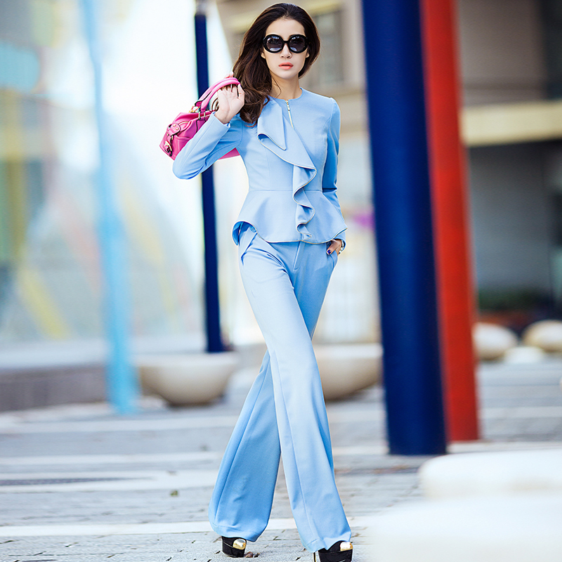 womens Leisure suit / Pant Suits,Long sleeved Light blue commuter slim suit wave collar coat + small stretch knit pants weilaОдежда и ак�е��уары<br><br><br>Aliexpress