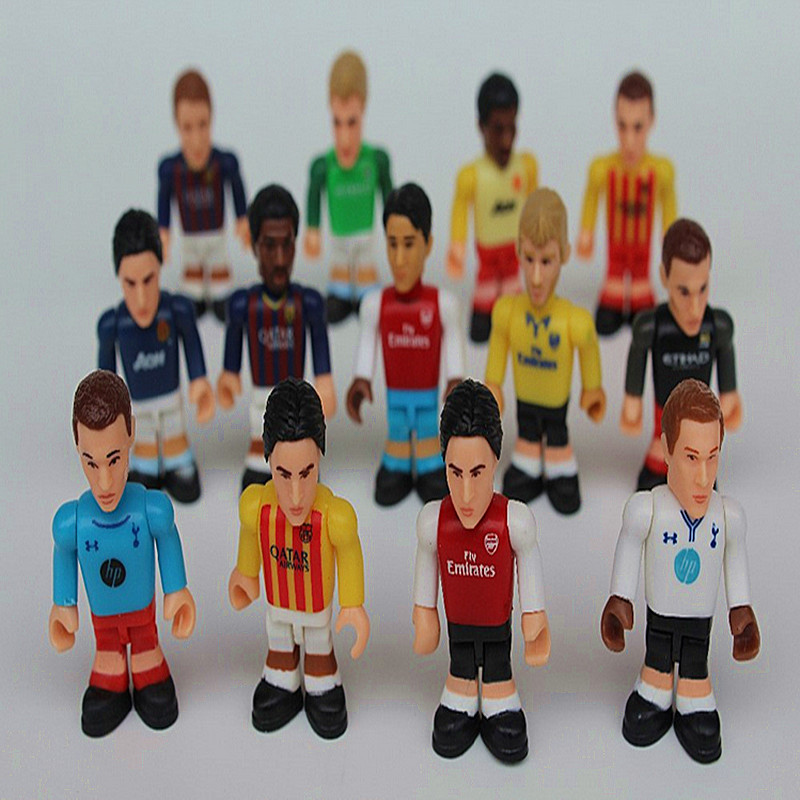High quality cute toys soccer player Cartoon anime action figures 5pcs/set 4.5cm kids birthday gift Free shipping yk113(China (Mainland))