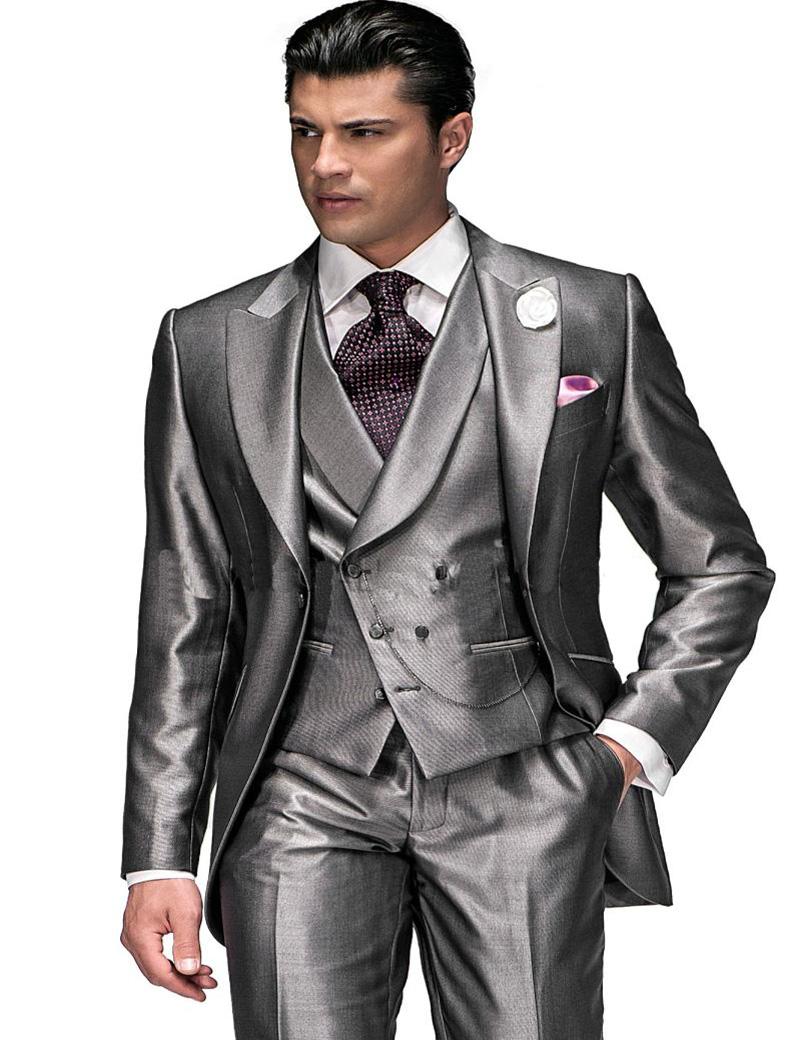 2016 Wedding Tuxedos Suits Grey Prom Suit Jacket+Pants+Tie+Vest Custom Made Wedding Tuxedos Best Men Suits