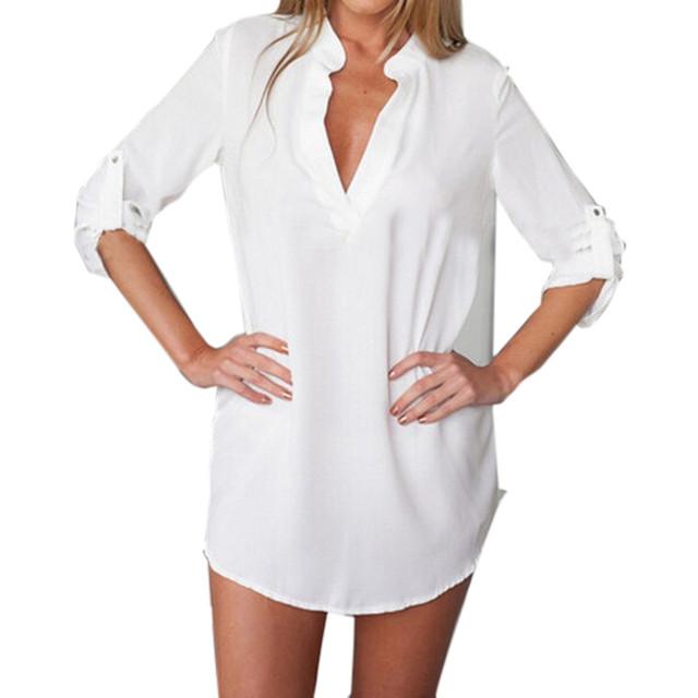 Сексуальные женщины летом с коротким Vestidos 2016 новое с длинным рукавом V шея-линии широкий свободного покроя шифон рубашка пляж платье длинные топы
