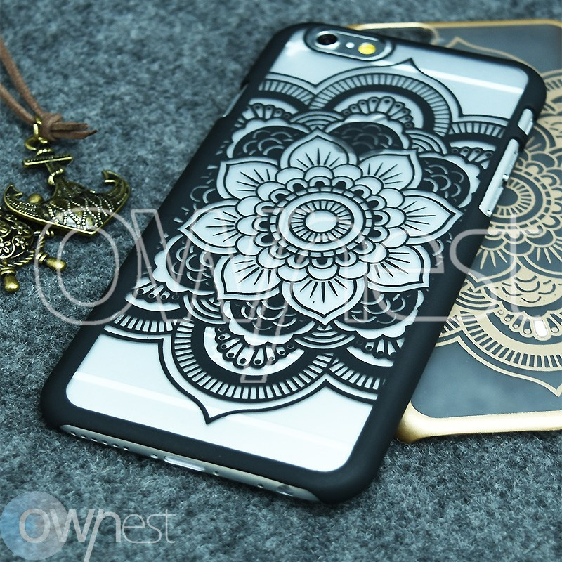 OWNEST Frosted Phone Case for Apple iPhone 6 6S 5 5S Case Shell Vintage Damask Flower Pattern Fashion Luxury PC Phone Back Cover