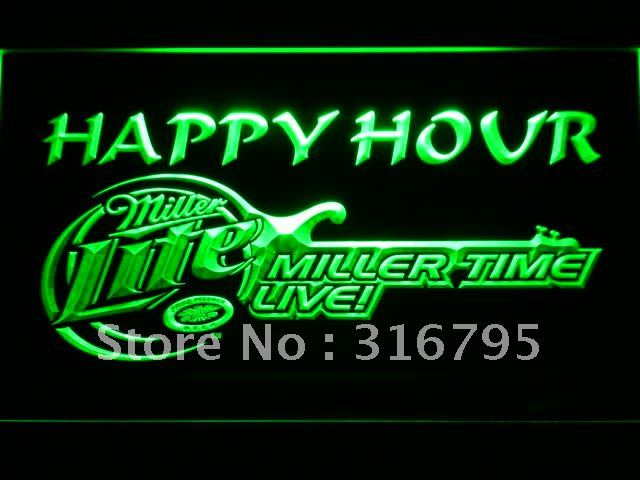 606-g Miller Lite Guitar Happy Hour Bar Beer LED Neon Sign Wholesale Dropshipping On/ Off Switch 7 colors DHL(China (Mainland))