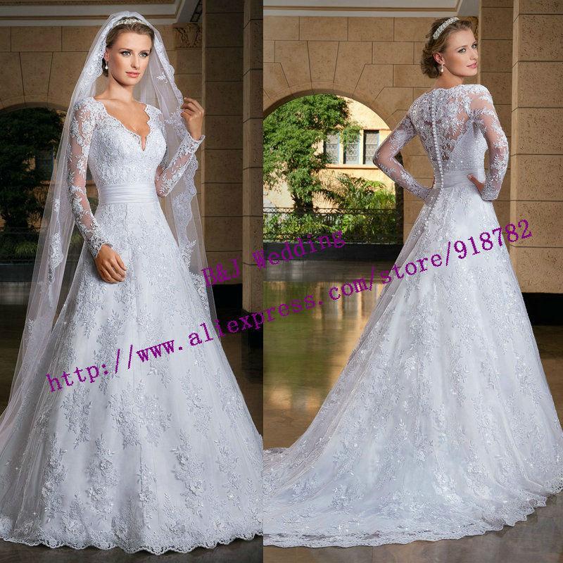 Fashionable Elegant Line V Neckline Floor Length White Ivory Long Sleeve Lace Wedding Dress 2015 Vestido De Renda - Superb Beinfaith Boutique store