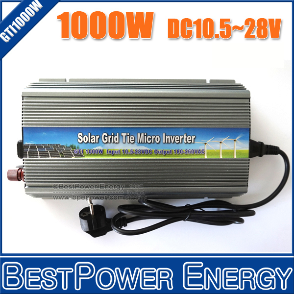 Free Shipping, NEW!! 10.5~28V DC to AC110V/220V Pure Sine Wave Solar Inverter 1000W 1KW Solar Grid Tie Micro Inverter(China (Mainland))