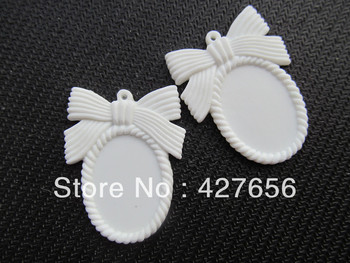 Oval Dull White Flatback Resin Bowknot Picture/Cabochon/ Cameo Frame Charm Finding,  Base Setting Tray for 18x25mm Cabochon