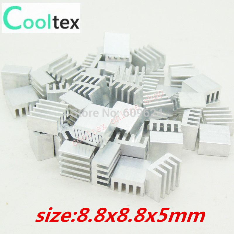 50pcs Extruded Aluminum heatsink 8.8x8.8x5mm ,Chip VGA RAM LED IC radiator, COOLER(China (Mainland))
