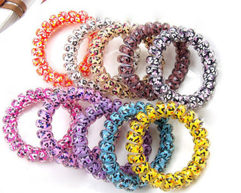 New 2014 Multicolor Elastic Telephone Wire Hair Band Star Printing Candy Colorful Phone Line Headband Ponytail Holder Bracelet