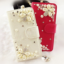 Lenovo a916 Case Fashion pearl Diamond flower White Red leather Soft silicone Mobile phone protection shell Case for Lenovo a916