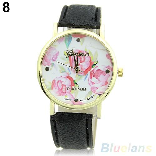 Women's Fashion Geneva Rose Flower Faux Leather Analog Quartz Wrist Watch 3Y3FD