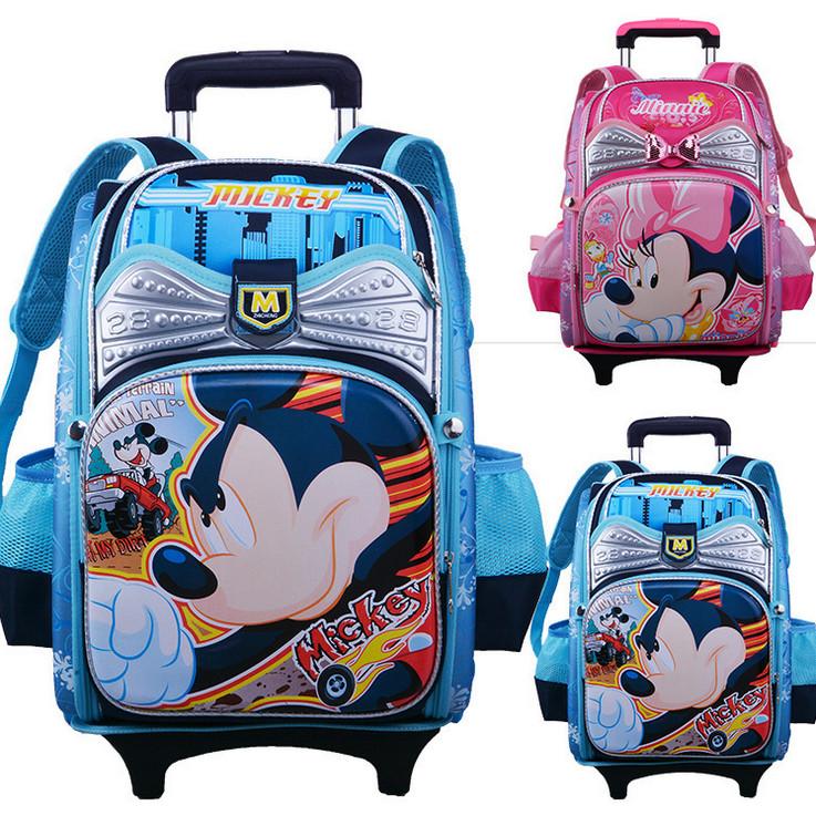 New Arrival Cartoon Mickey Hello kitty Space Trolley Schoolbag Fashion Burdens Minnie Children's Orthopedic Backpack Shouder Bag(China (Mainland))