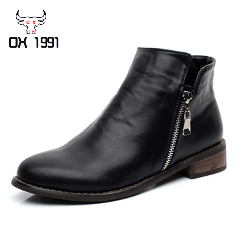 High quality Soft Leather Women shoes Autumn Women Boots,OX1991Brand Black Female Boots,Fashion Flat Heels Ankle Boots for women(China (Mainland))