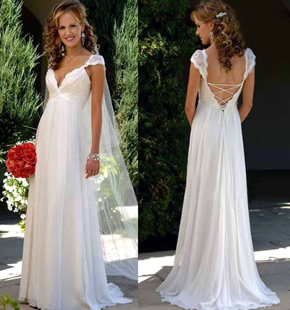 Beach wedding dress with lace sleeves lace up back empire for Wedding dresses with lace up back