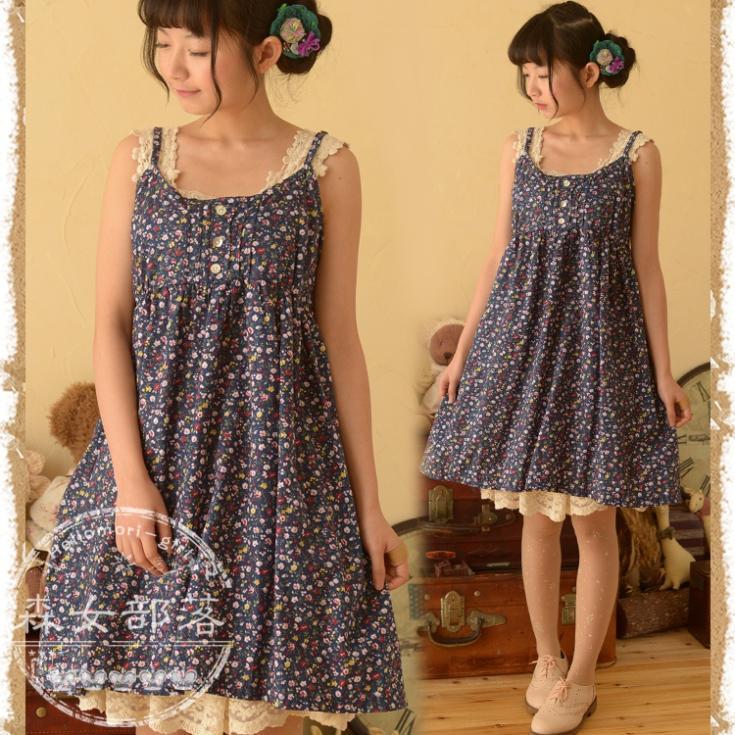 Buy Women Summer Dress Sleeveless Spaghetti Strap Shivering Cute Mori Girl