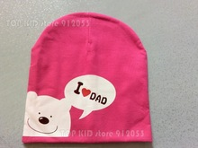 1 Pcs Cute Warm Baby Hat I LOVE MAMA/PAPA Cartton Bear Knitted Cotton Beanie Cap for Baby Toddler Boy and Girls OR659(China (Mainland))