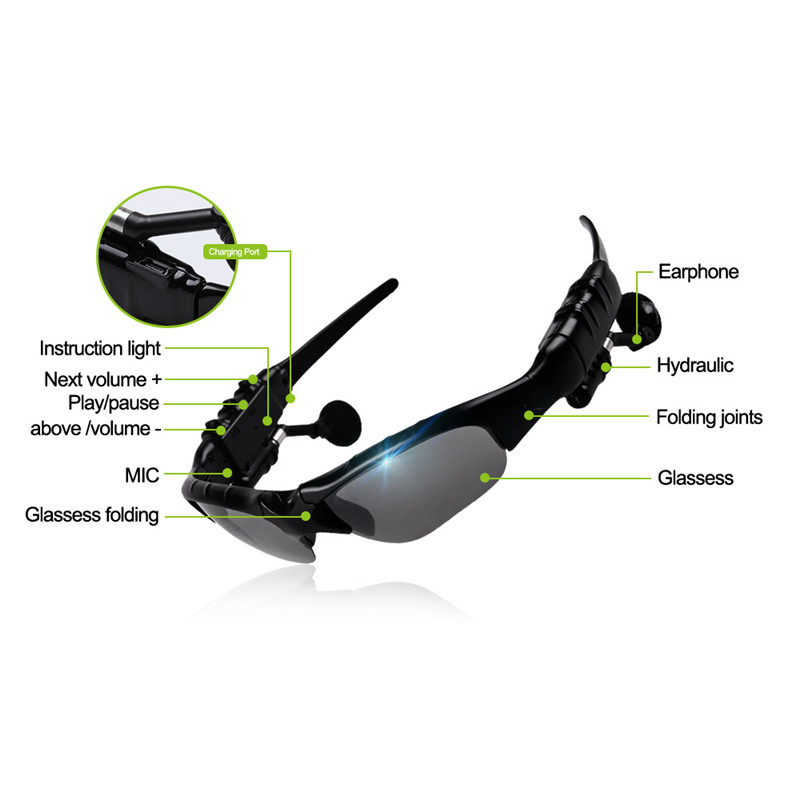 GOESTIME Stereo Sports Wireless Bluetooth Sunglasses Earphones Music Handsfree In-Ear Earphone For Smart Phone Tablet MP3 MP4(China (Mainland))
