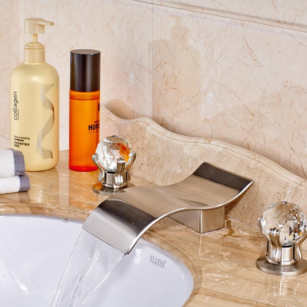Фотография Nickel Brushed Luxury Waterfall Bathroom Basin Faucet Vanity Sink Mixer Tub Spout Crystal Handles