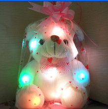 3pcs soft shinning plush cute bear glow in the dark bear toy Highquality fabulous gifts(China (Mainland))
