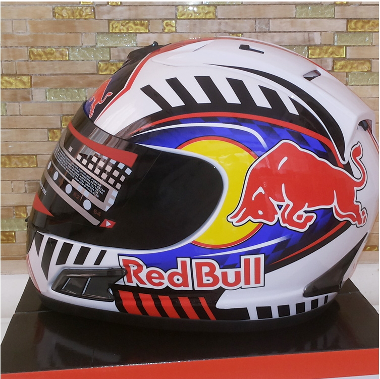 Hot Sales Brand MALUSHUN Full Face Motorcycle Helmet Red Bull Design of Passion Capacete ABS% Dot White Casque Motocross(China (Mainland))