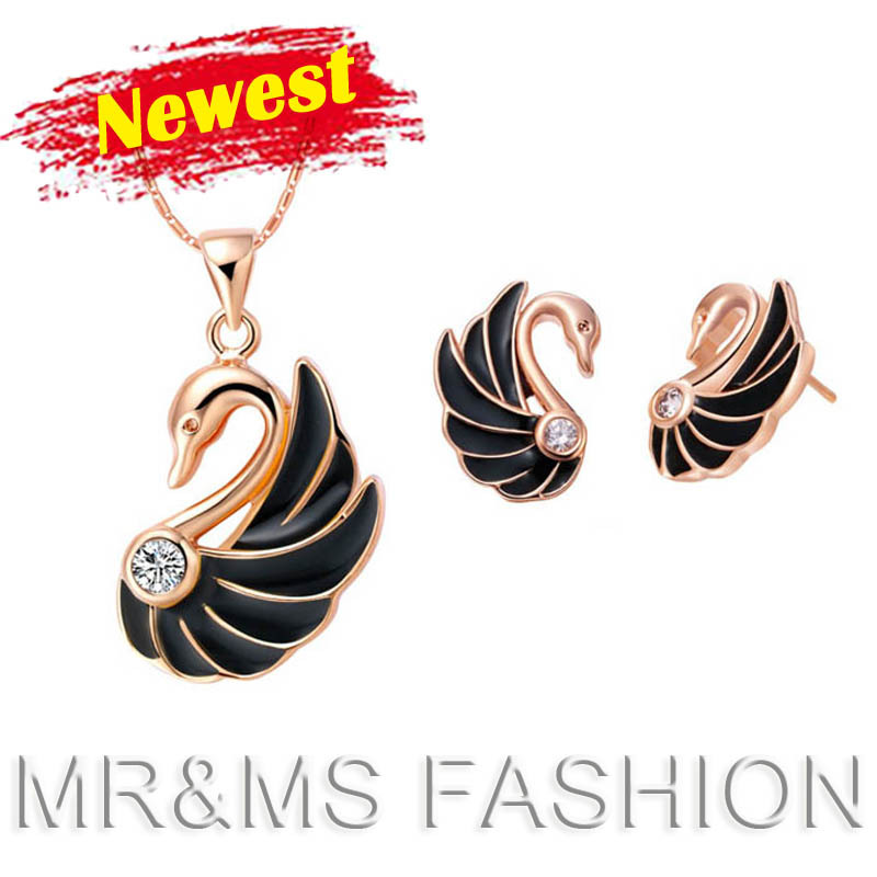 Factory Top Sales 2014 Swan necklace earrings Best Gift Fashion Women 18KGP Jewelry Sets YK0008 - CHINA CRAFT OF WOW-KING store