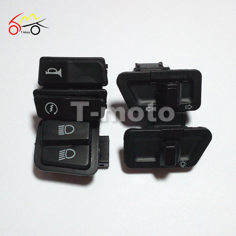 GY6 50cc 125cc 150cc Moped Scooter Head Light Horn Dimmer Turn Starter Single Switch Button 5 Piece/Set(China (Mainland))